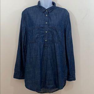 Sonoma Life & Style 1/2 Button Denim Style Shirt